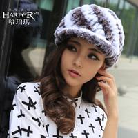 Rex rabbit hair fur hat winter women's cap screw cap fashion color block rabbit fur hat