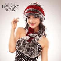 Fur hat women's cap rex rabbit hair hat winter hat ear cap