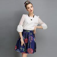 2015 New Fashion Big Fireworks Designs Elegent Women Ball Gown Fleabane Skirt Free Shipping 04727