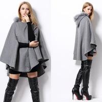 2014 Winter New Arrival Brand Women Wool Loose Jackets Poncho Fur Coat Khaki/Gray Manteau Femininos Free Shipping W22845