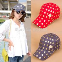 FreeshippingWomen Fashion Canvas Hip-Pop Caps Snapback visor Caps Heart Print Hats