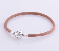 bracelet silver 925 sterling bracelests for women coffee genuine leather bracelet men PL305 wholesale
