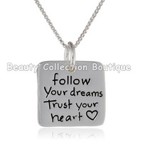 2014 Fashion Follow Your Dream,Trust Your Heart  Silver Engraved Letter Pendants Statement Necklace Jewelry Wholesale 12Pcs/Lot