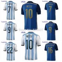 New Fashion Youth Kids World Cup DI MARIA HIGUAIN MESSI MARADONA PALACIO Blue KUN AGUERO LAVEZZI White Strip Soccer Jerseys
