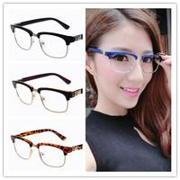 2015 2014 Classic popular Resin semi-rimless glasses frames Men Women Ladies Decorative Reading Glasses frames No Degree