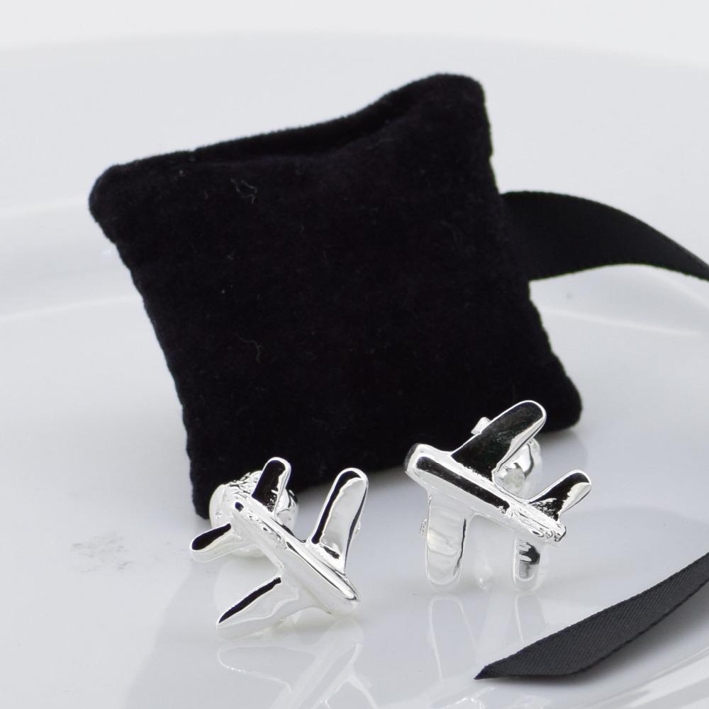Luxury Cufflinks Fashion Cuff links 925 sterling silver Plane Design Men Gift cufflink men's man Free shipping(China (Mainland))