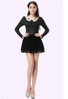2014 fall new doll collar temperament Polka Dot Slim was thin long-sleeved velvet dress cualas dress free shipping