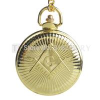 Topearl Jewelry Freemasonry Masonic Quartz Pocket Watch Gold Case Full Hunter LPW273