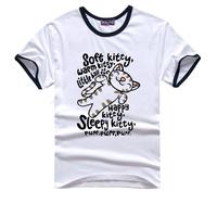 Tops tees casual youth T-shirt Plus Size The Big Bang Theory Cat hello Kitty print  T-Shirts Men T05