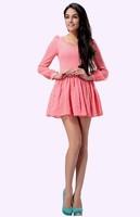 2014 new women's autumn lantern sleeve V-neck was thin solid multicolor elegance princess dress free shipping