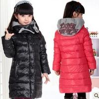 Retail 1Pcs New2014 Girls Winter Hooded Coat Children Medium-Long Casual Duck Down Coat Outwear Jackets QQ124