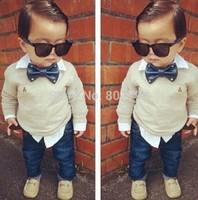 Free Shipping New 2014 Spring And Autumn Boy Shirt Long Sleeve Shirt Gentleman Handsome BoyS Cotton Shirt  Bow Ties+pants denim