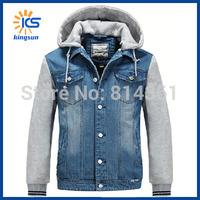 2014 New Stylish Mens Autumn Winter Hoody Outwear Patchwork Vintage Casual Slim Men Denim Jacket Free Shipping