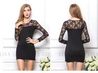 Women lace dress 2014 new autumn winter floral long sleeve casual dress plus size sexy bodycon dresses vestidos de renda K19