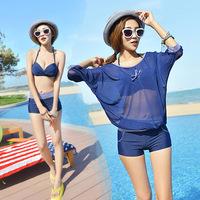 2015 new hot spring bathing suit,women push up bikini,sport boxer shorts swimwear,4pcs bat sleeve swimsuit,sexy beachwear