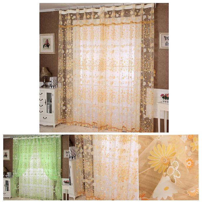 Trustworthy 2015 new 2x1 m cortinas Floral Tulle Door Window Curtain Drape Panel Sheer Scarf Valances Orange&Green cortina(China (Mainland))
