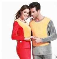 Free transportation bunk warm golden armor Men Women plus velvet thick warm thermal underwear suit suits couple