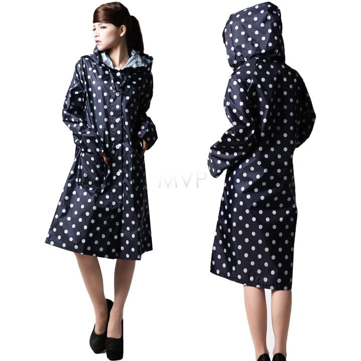 Hot New Women Polka Dots Outdoor Travel Waterproof Riding Clothes Raincoat Ladies Poncho Hood Knee Length Rainwear 36(China (Mainland))