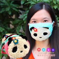 5 Pcs! Fashion Keep Warm Dust Prevention Thermal Kz06  Plush Cotton Panda Cartoon Mask