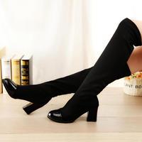 "18.9"" Fashion autumn 2014 platform elastic high-leg boots wedges boots lace women's  boots CT005"