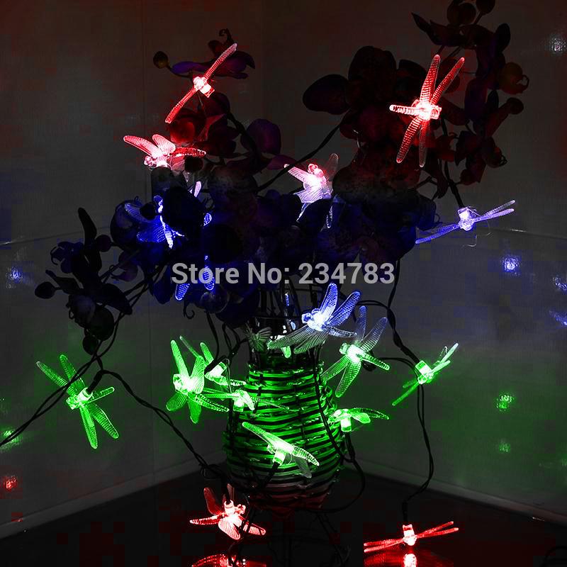 Solar Outdoor Christmas Light String 20 Led Dragonfly Garden Patio Fairy Lights Decorative Party Xmas Tree Holiday(China (Mainland))