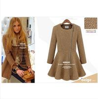 2014 Winter new Europe padded ladies ' wool diagonal zipper t self-cultivation woolen overcoat dust coat Jacket Women