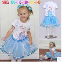 5 pcs/lot, Free Shipping Frozen Clothing 2 pcs Set Elsa Tee+Skirt+Lace Leggings For 2-7 Year Children Girl,J318