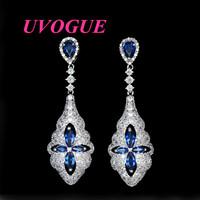New top quality luxury brand Vintage Zircon Blue corundum wedding stud Earrings (UVOGUE UE0068)