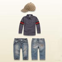 Wholesale  Brand  fashion  spring/autumn  children's  suit  long  sleeve  turn-down  collar  boy's  suit  blouse+pants+hat