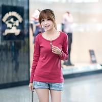 2014 New Fashion zipper women's o-neck long-sleeve t-shirt fashion basic slim shirt top
