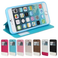 New Luxury Ultra-thin View Window Double Color Design Leather Case for iPhone6 plus 5.5inch
