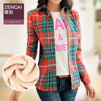 2014 thermal plus velvet plaid shirt thickening female long-sleeve slim shirt female plus size