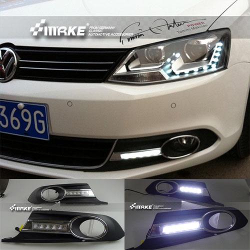 Free shipping ! 12V 6000k LED DRL Daytime running light for VW Volkswagen Jetta 2012 Fog lamp frame Fog light(China (Mainland))