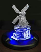 LED Lighting Show + 3D DIY Jigsaw Christmas Toy Flashing WINDMLL  Model Metal 3D Puzzles