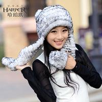 Ears child hat rex rabbit hair fur hat women's scarf cap winter cap winter