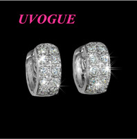 New design classic top quality Round Loop with tiny AAA swiss zircon CZ small drop Earring (UVOGUE UE0090)
