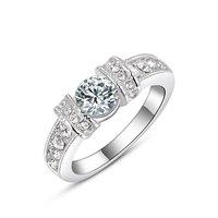 Elegant Style Crystal White Sapphire 18K Rose/White Gold Filled Ring Size 6 7 8 Gift