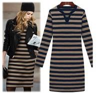 2014 fashion street style V-neck stripe long-sleeve slim fashion basic one-piece dress