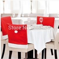Christmas Santa Claus Chair Cover Fabric Santa Hat Christmas Chair Slip Covers Kitchen Chair Covers Free Shipping 100pcs/lot