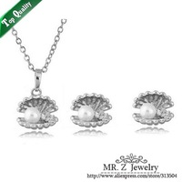 2014 Hot Products Women Wedding Shell Earrings Necklace Pearl Jewelry Set Free Shipping