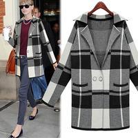 2014 Fashion Winter Coat Women Plaid Long Blends Black and Grey Winter Women Jacket Plus Size