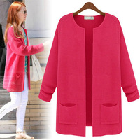 Fashion women loose knitted solid color long cardigans ,casual long sweaters woman AXYG521