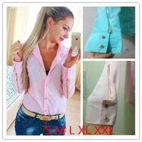 2014 New Spring Autumn Long Sleeve Shirts Casual Women Zipper Rivet Shirts Lady Slim Blouse S-XL
