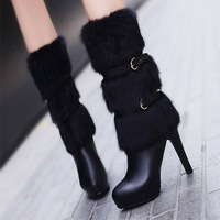 Fashion high-heeled boots female boots Winter Boots  Thin  heel genuine leather platform boots autumn and winter rabbit