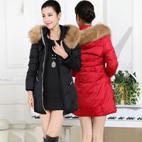 2014 New Winter Fashion Large Fur Collar Long Design Thickening Slim Down Coat White Duck Down Outerwear women's Jacket ,B2731