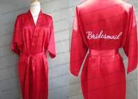 Free Shipping 2014 Short Style Woman Silk  Satin Embroidery Bridal Robe,Wedding Bride Party Robe Gown , Embroidery Bridesmaid