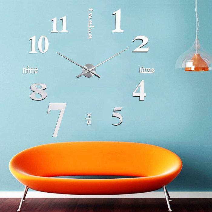 DIY Large Wall Clock 3D Mirror Sticker Big Watch Home Decor Unique Gift Home Wall Decor Clock Big