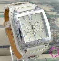 good quality 2015 new fashion women lady girl white wide band multiple dial dress casual quartz wristwatch wrist watch hour
