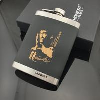 Black Portable Stainless Steel Hip Flask Set 8 oz Whisky Whiskey Drinkware Alcohol Pocket Flasks Bottle Personalized Bruce Lee