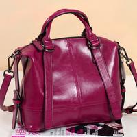 Fashion brief women's genuine leather handbag  wax cowhide vintage handbag motorcycle bag messenger bag